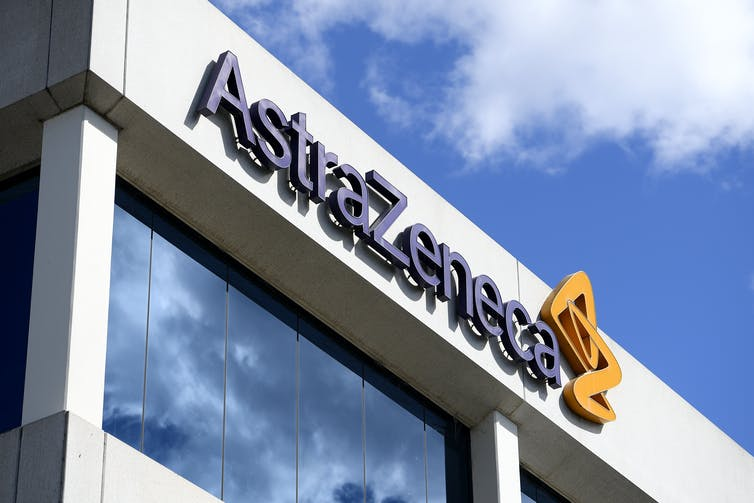A building which says 'AstraZeneca'.