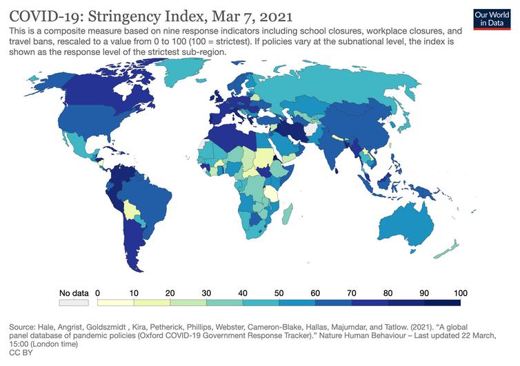 Carte montrant la rigueur relative des mesures Covid-19 par pays en mars 2020