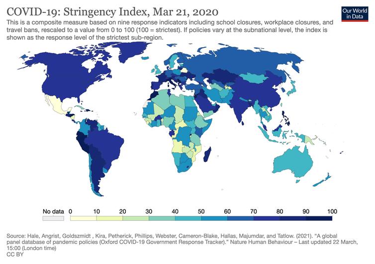 Carte montrant la rigueur relative des mesures anti-Covid-19 par pays, en mars 2020